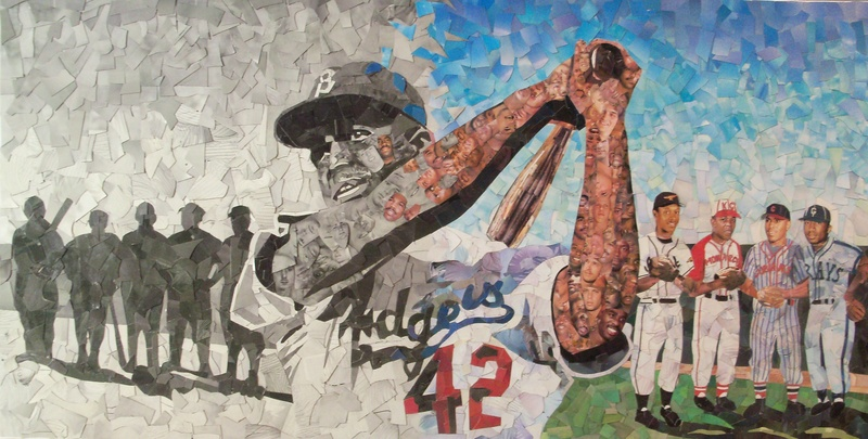 """Change,"" by Tim Carroll depicts Jackie Robinson and was constructed from cut up baseball cards."