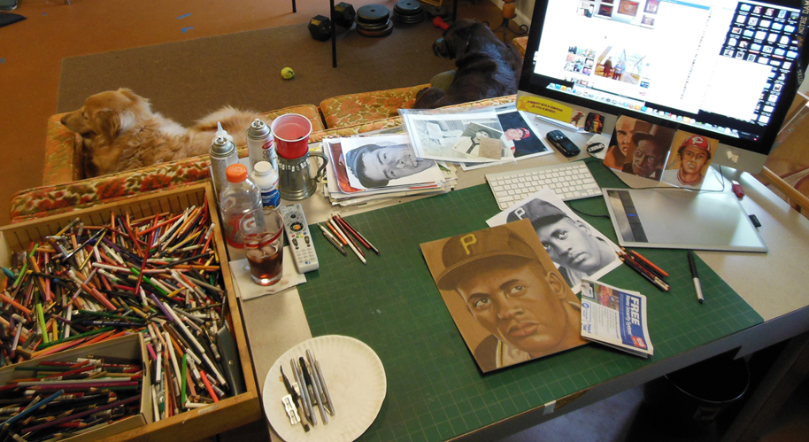 The studio that artist Brent Naughton shares with his wife.