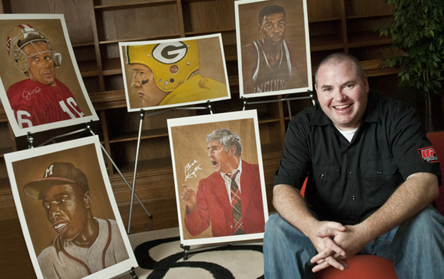 Sports artist Brent Naughton in his studio.
