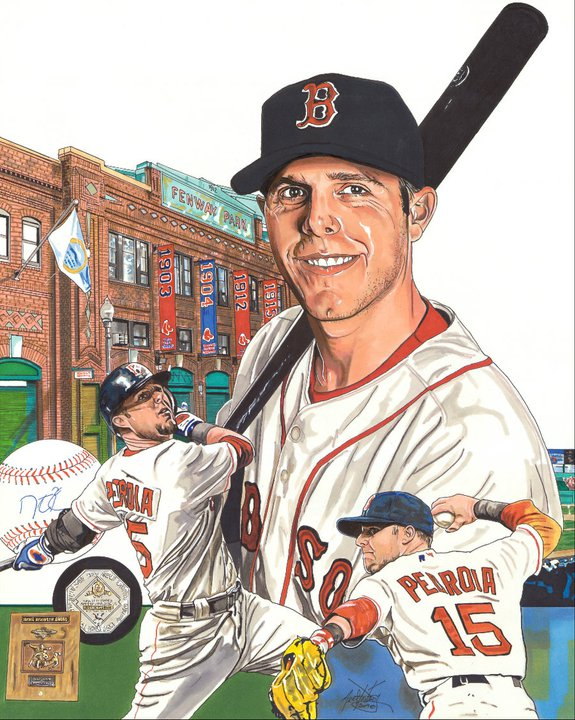Painting of Dustin Pedroia by artist Neal Portnoy.