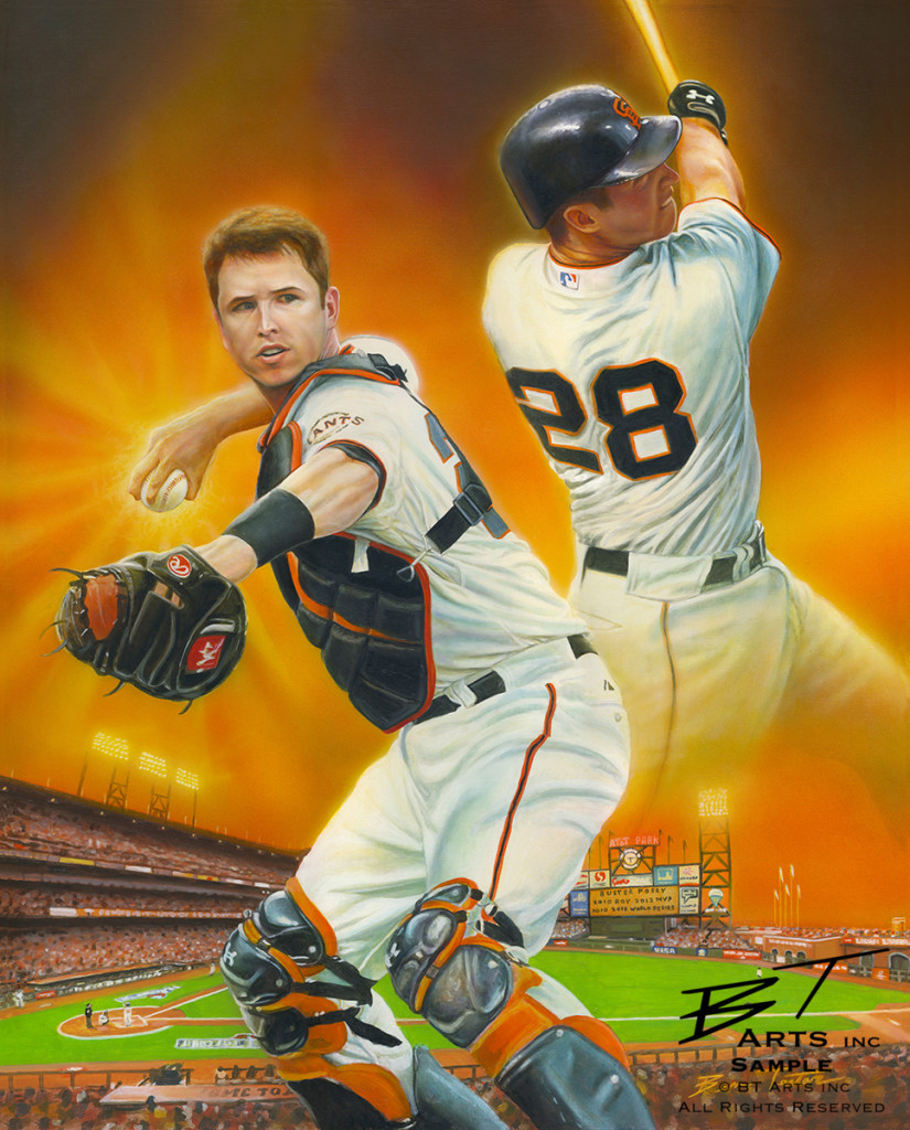 Painting of Buster Posey by Ben Teeter.