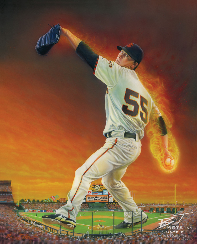 "Tim Lincecum, ""The Freak,"" a painting by Ben Teeter."