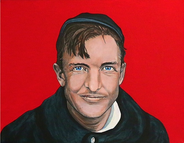 """Christy in Red"", 14"" x 18"", acrylic - from the Christy Mathewson Series entitled ""Blue, Red and Brunt Sienna"""