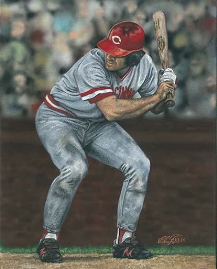 """Iconic,"" a painting by artist Chris Felix, captures the essence of Pete Rose."