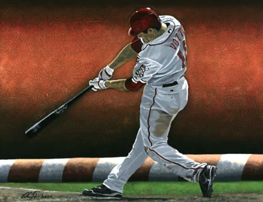 "Joey Votto, ""Votto Swinging"" 8""x10"" acrylic on hardboard"