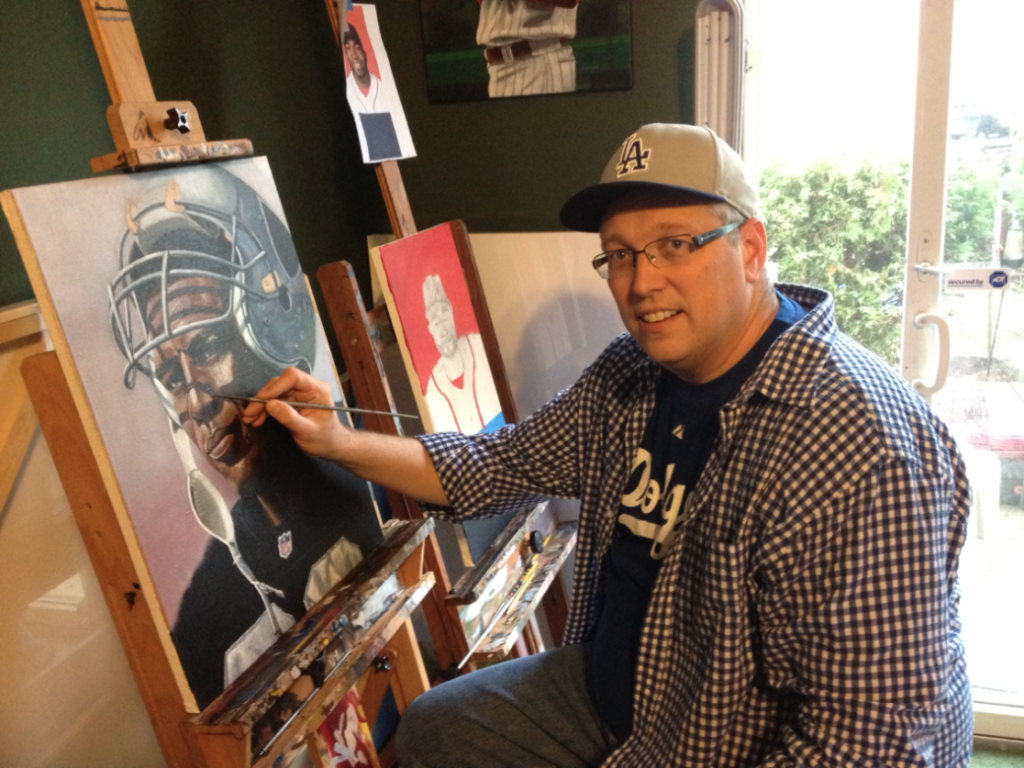 Baseball Artist Paul Lempa in action
