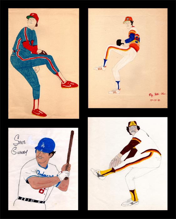 Examples of Peter Chen's baseball art as a child.