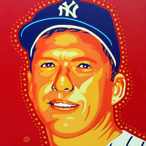 """Mickey Mantle"" by Peter Chen (36"" x 36"" acrylic on canvas)"