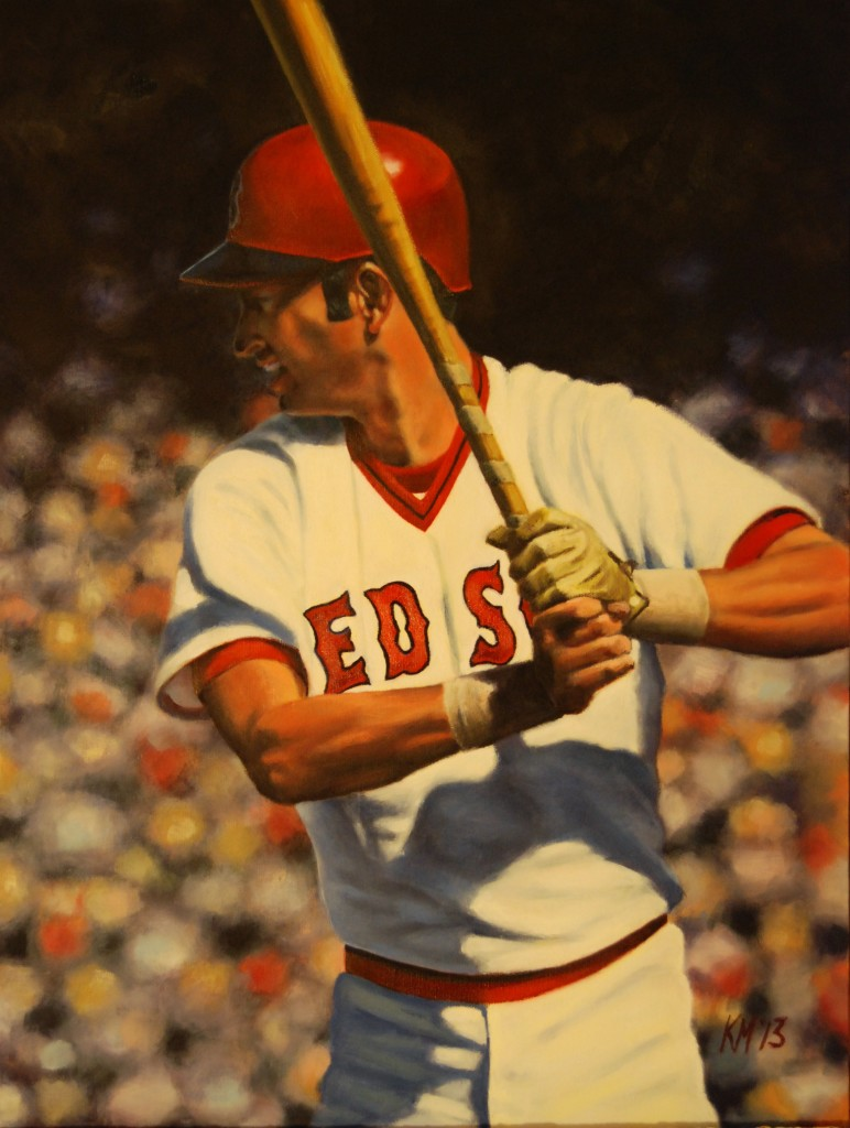 The Man They Call Yaz, 18″ x 24″, oil on canvas (Carl Yastrzemski), by Kevin McNeil